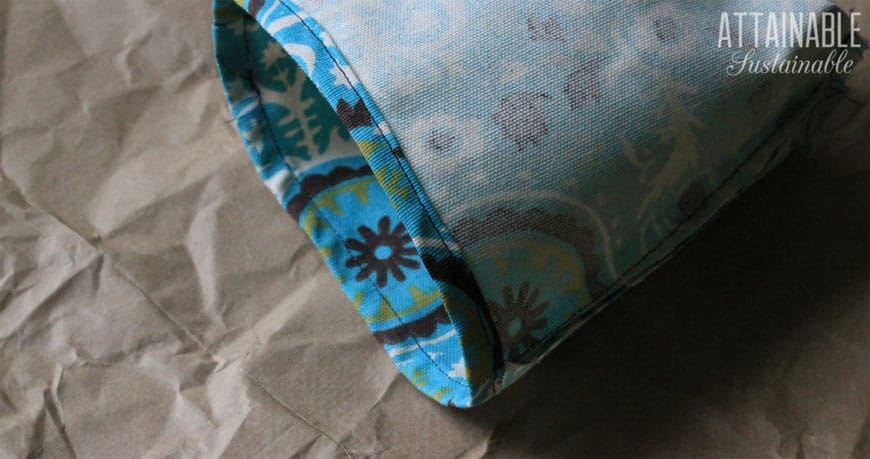 making reusable snack bags with teal fabric - top hem