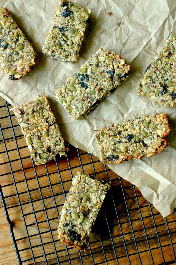healthy homemade granola bars on wire cooling rack