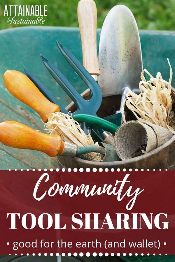 garden tools in a wheelbarrow