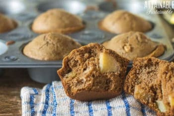 gluten free apple muffins in a muffin tin