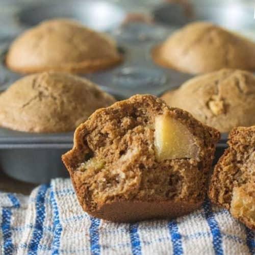 gluten free apple muffins in a muffin tin