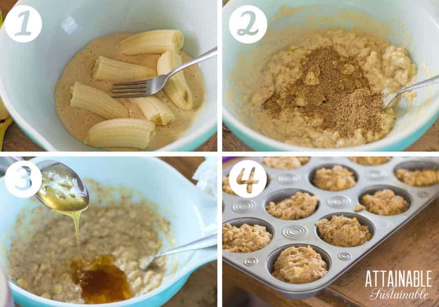 BANANA nut muffins in process: smashing bananas, adding ingredients to a blue pyrex bowl, muffins in muffin tin