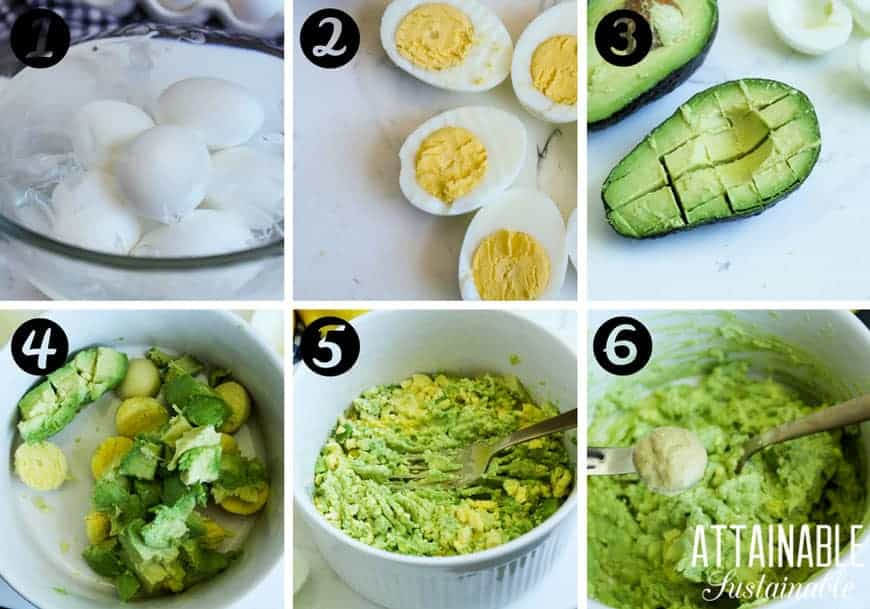making guacamole deviled eggs -- process photos