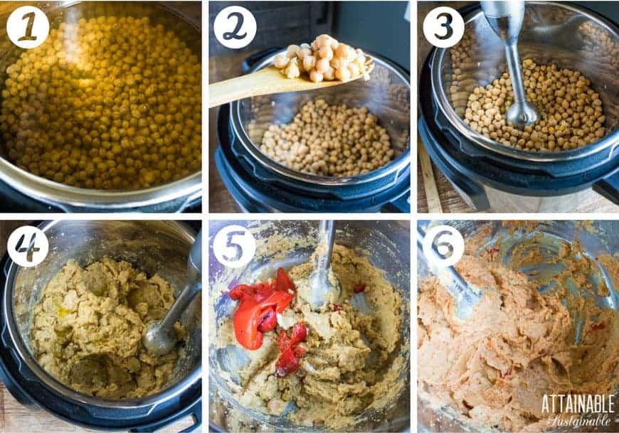 how to make hummus, in process photos: cooking garbanzo beans in the instant pot, blending with immersion blender