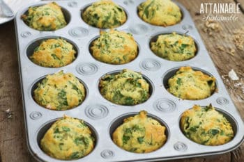 savory kale muffins in a muffin tin
