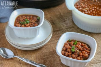 instant pot baked beans in square white bowls