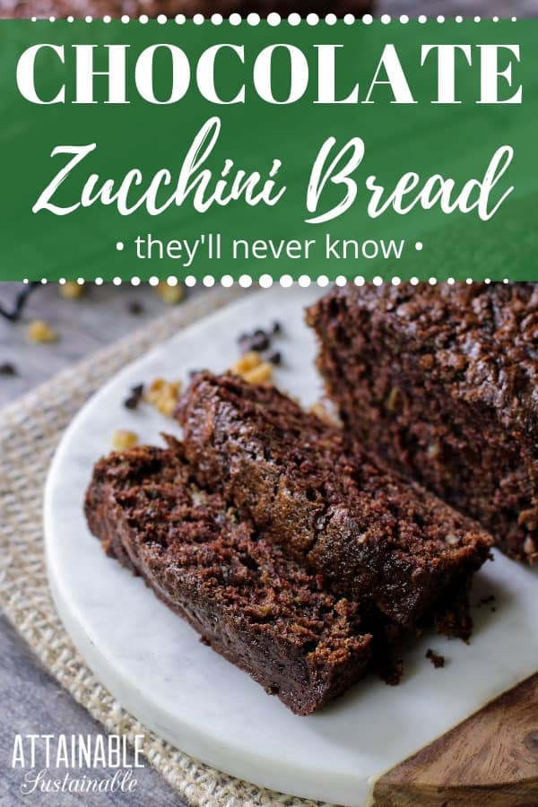 chocolate zucchini bread on white cutting board