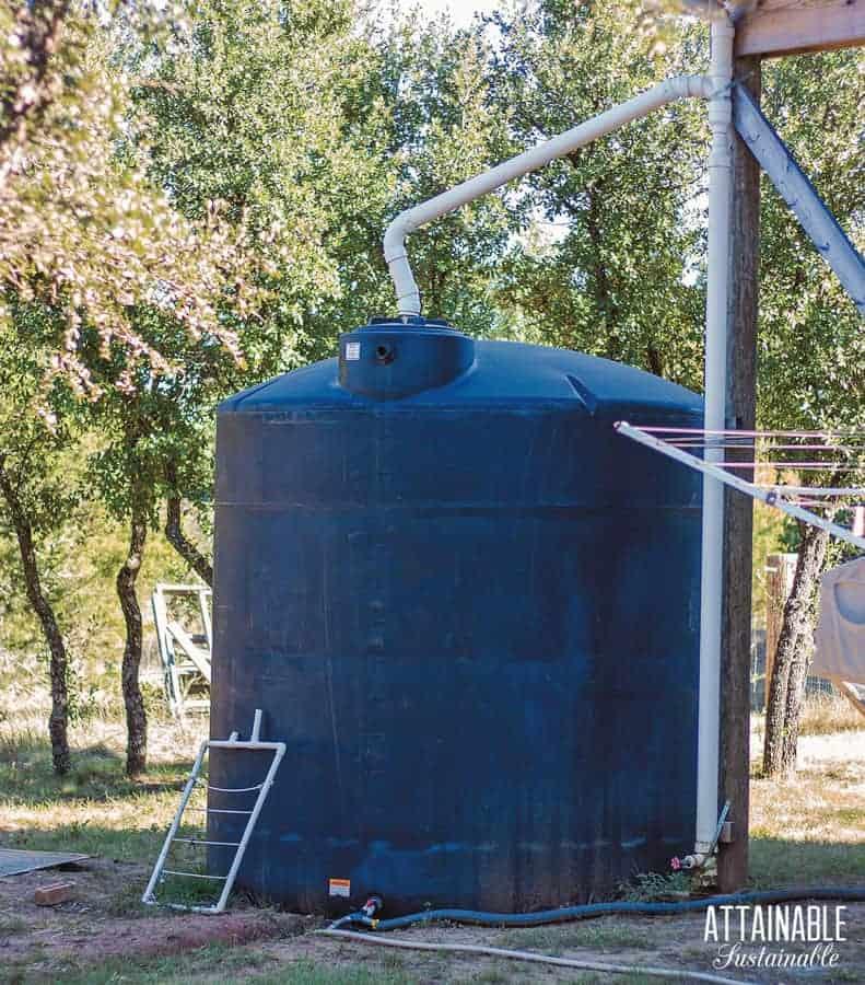 rain catchment tank on an off grid homestead
