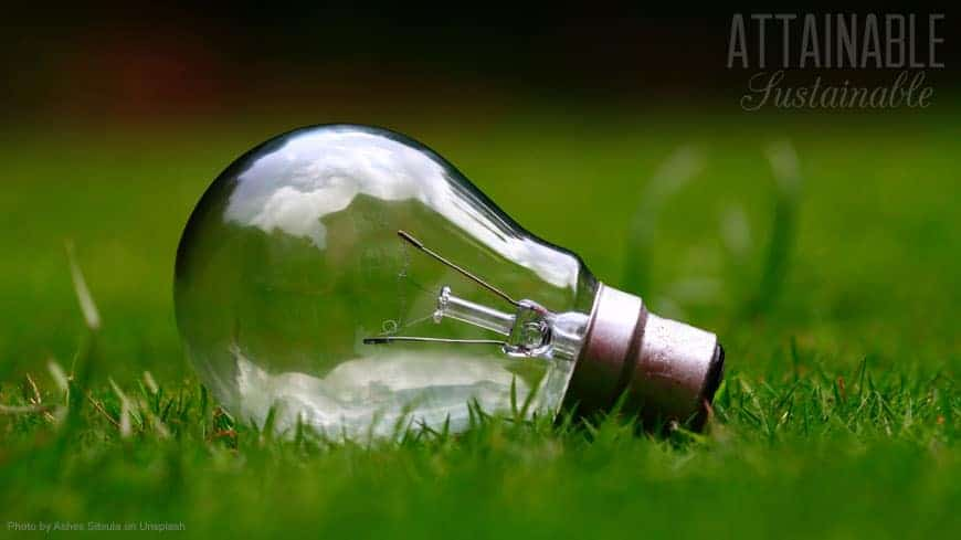 clear lightbulb lying on green grass - energy conservation