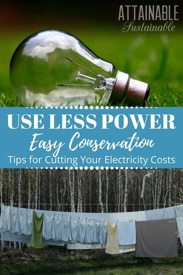 clear lightbulb lying on green grass, top & light colored laundry hanging on a line, bottom - energy conservation