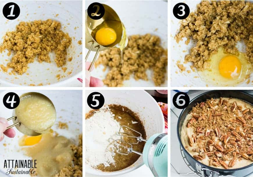 6 panel process shots: making an apple spice cake