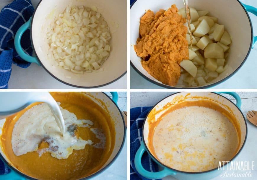 process photos: making creamy pumpkin soup recipe