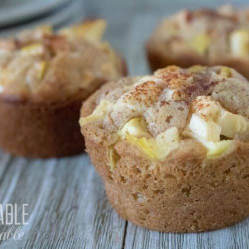 easy apple cinnamon muffins on wooden table