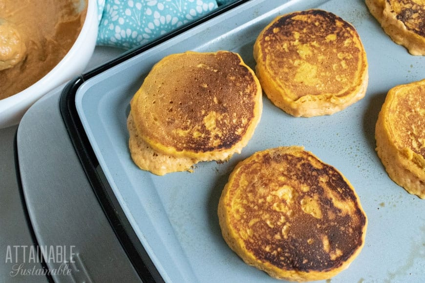 easy pumpkin pancakes on a griddle