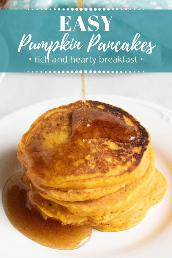Sometimes you just want a plate full of hotcakes for breakfast. These easy pumpkin pancakes make for a hearty breakfast with a little bit of sweetness! They're a perfect addition to pumpkin spice season, made with wholesome ingredients. #breakfast #recipe #pumpkin