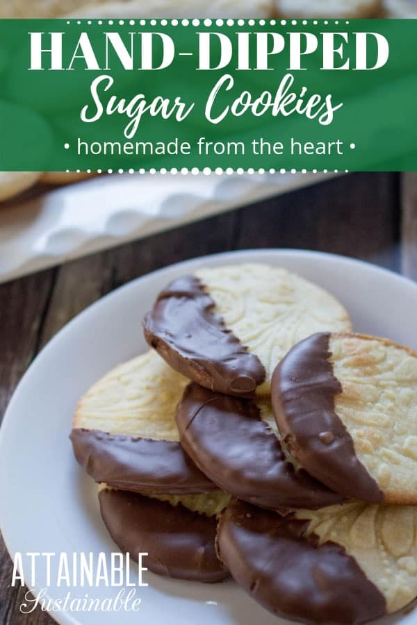 Easy instructions on how to make sugar cookies from scratch. Serve them plain or dip them in chocolate for gift giving or a cookie exchange. These rolled sugar cookies are easy to make. (You won't even miss the store bought tube of dough!) Use an embossed rolling pin to make them extra pretty. #christmas #cookie #baking