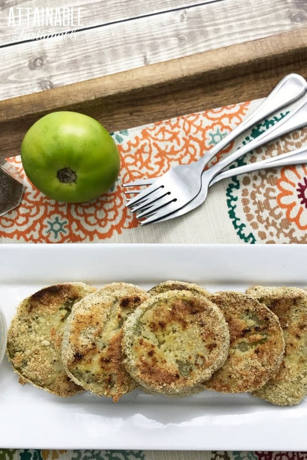 easy fried green tomato recipe finished and served on a white rectangular plate