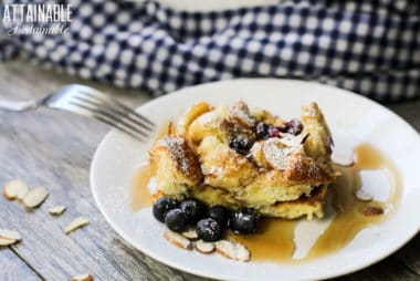 Blueberry French toast casserole on a white plate