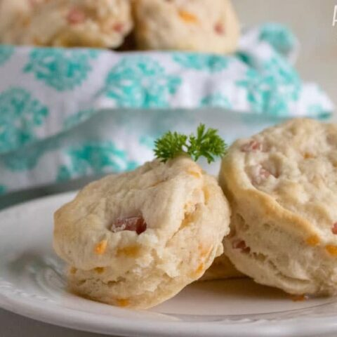 Leftover Ham and Cheese Buttermilk Biscuits