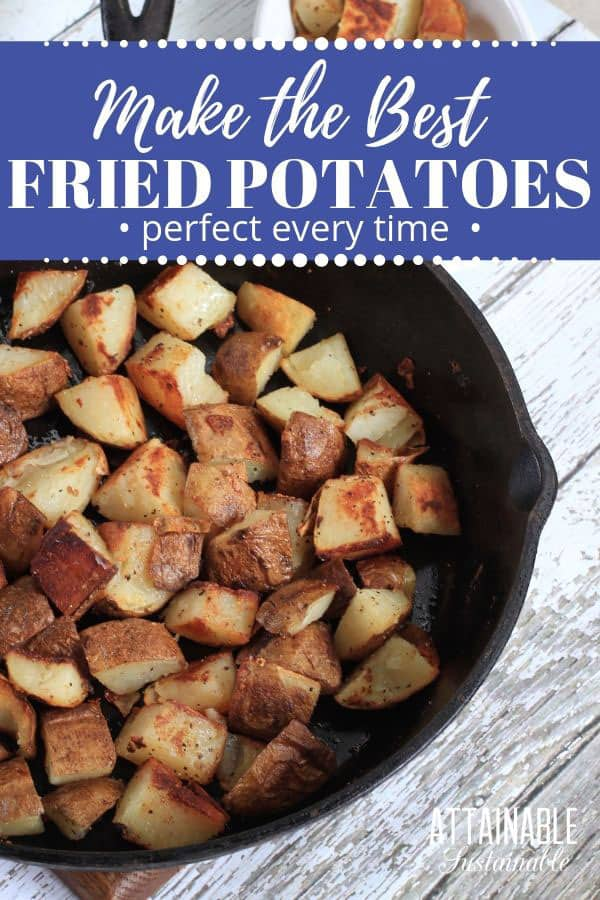 home fries in a cast iron pan