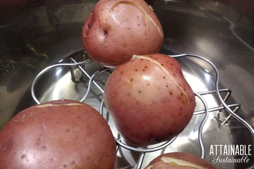 red potatoes just cooked in an Instant pot