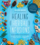 healing herbal infusions blue book cover with herbs
