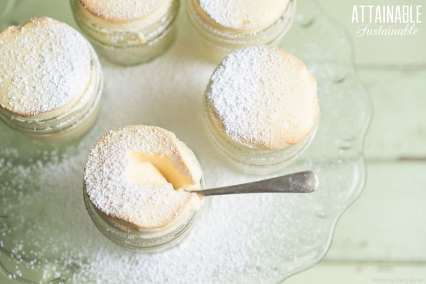 small glass jars of yellowish souffle dusted with powdered sugar