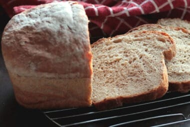 homemade potato bread, fresh out of the oven and sliced