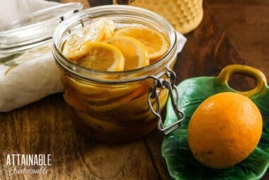 lemon slices in a jar of fermented honey