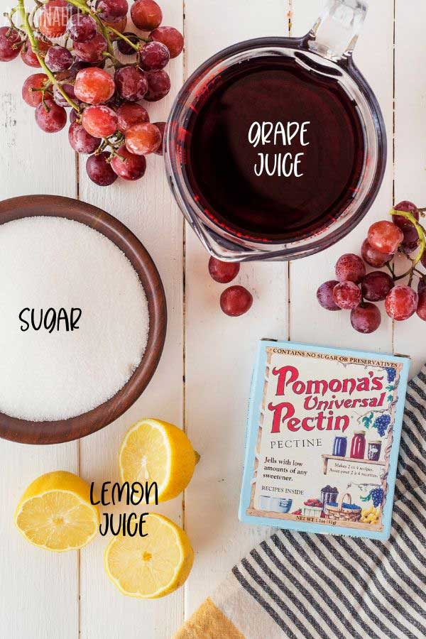 grape jelly ingredients from above: sugar, grape juice, lemons, pectin