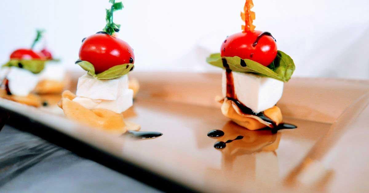 mozzarella and basil tomato skewers