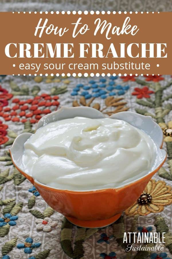 homemade creme fraiche in a tulip shaped orange bowl