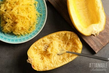 two halves of spaghetti squash, one scooped into a teal bowl