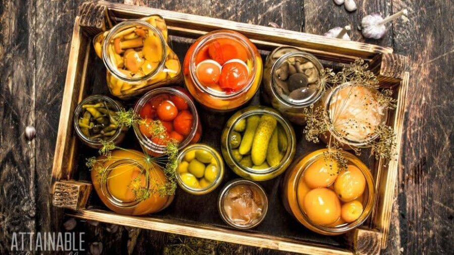 various produce in glass jars from above