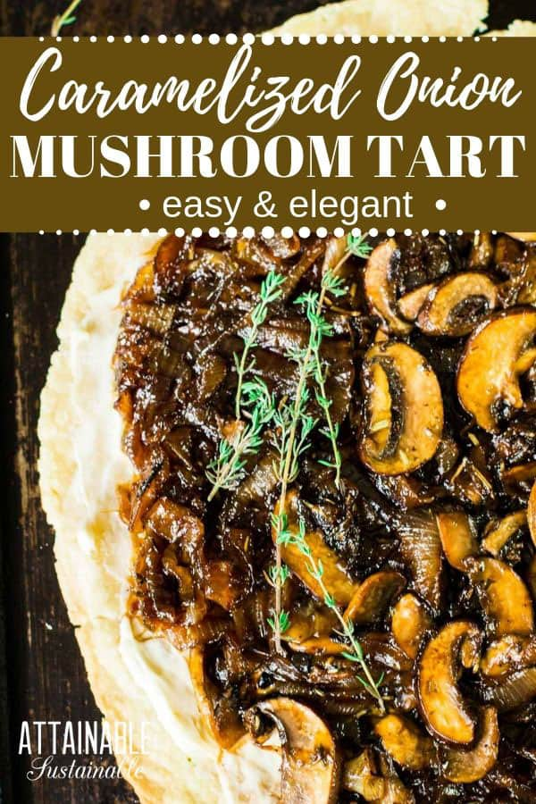 caramelized mushroom and onion tart from above