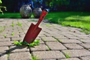 red trowel in a block patio with weeds