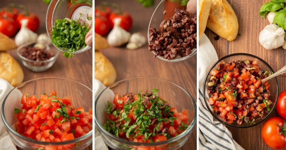 3-panel showing addition of basil, then olives, to tomato bruschetta