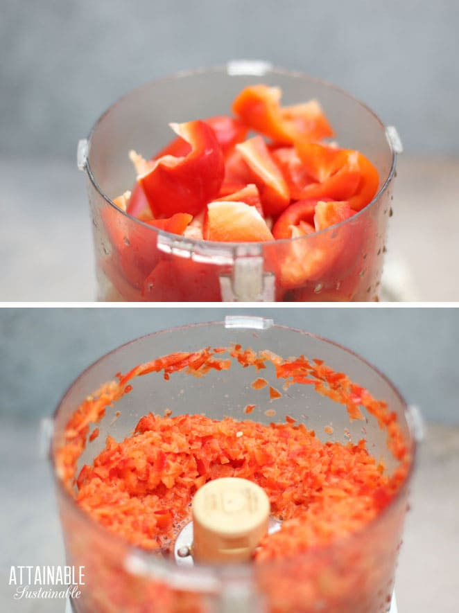 red peppers in a food processor, before and after processing