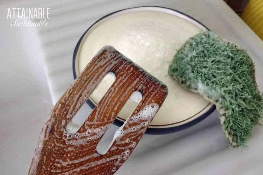 soap bubbles on a wooden utensil