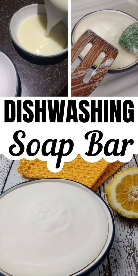 using a homemade dish soap bar