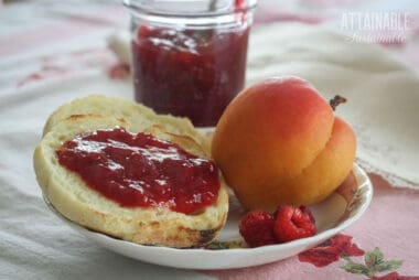 raspberry jam on an english muffin