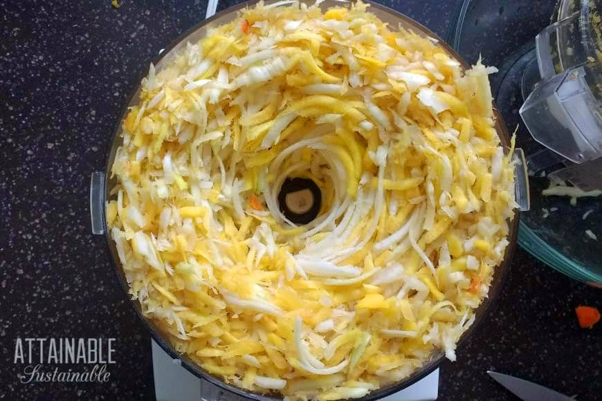 carrots shredded in a food processor