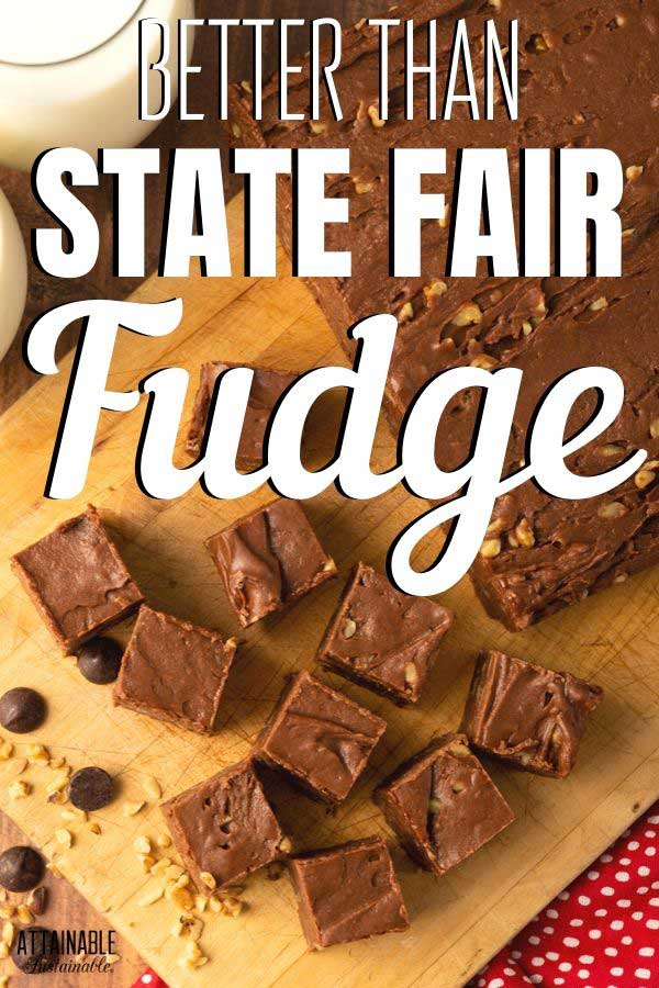 fudge squares on a cutting board