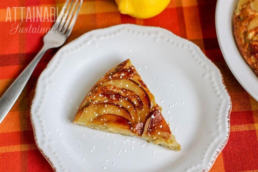 slice of apple dessert on a white plate