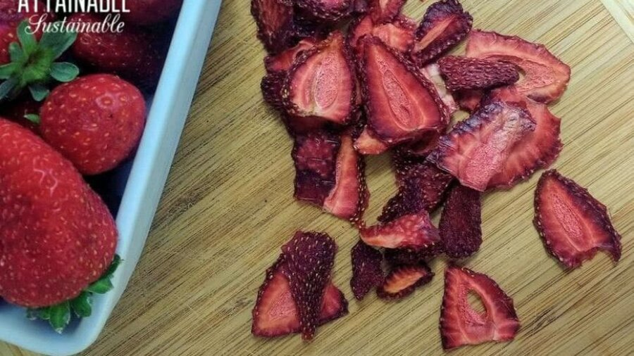 dried strawberries from above