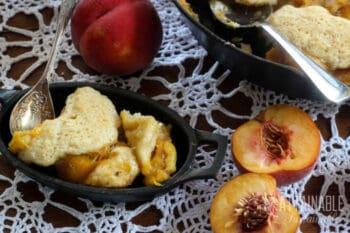 fresh peach cobbler in a cast iron dish