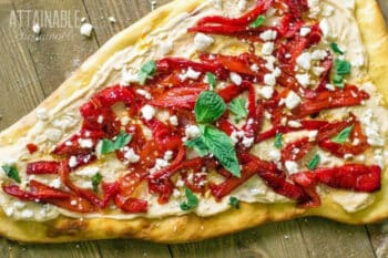 hummus flatbread pizza