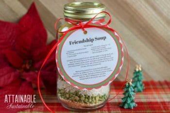 JAR full of dry lentils for soup