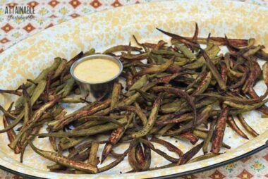 ROASTED OKRA on a yellow enamelware platter