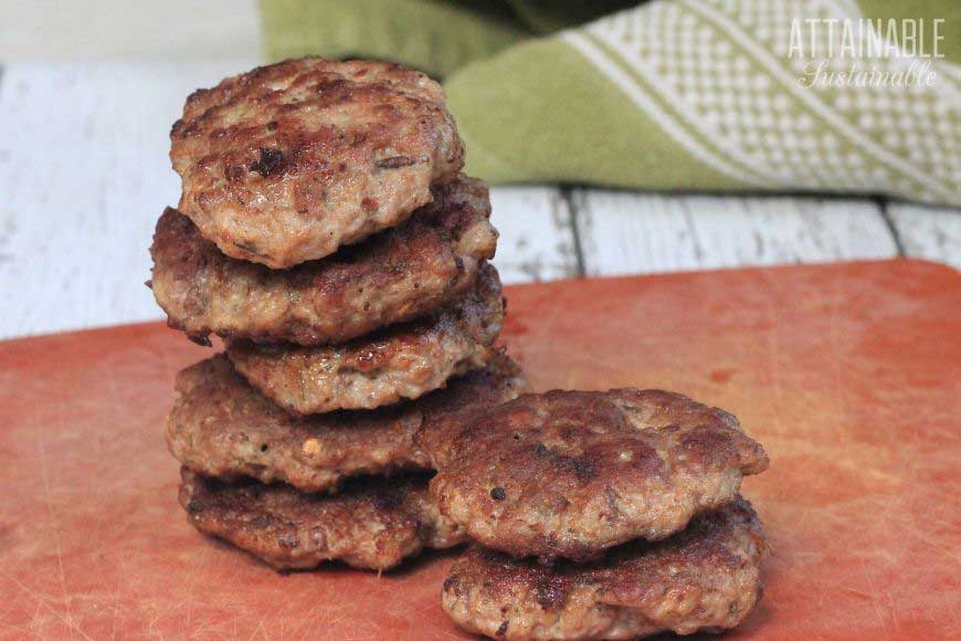 breakfast sausage patties in a stack